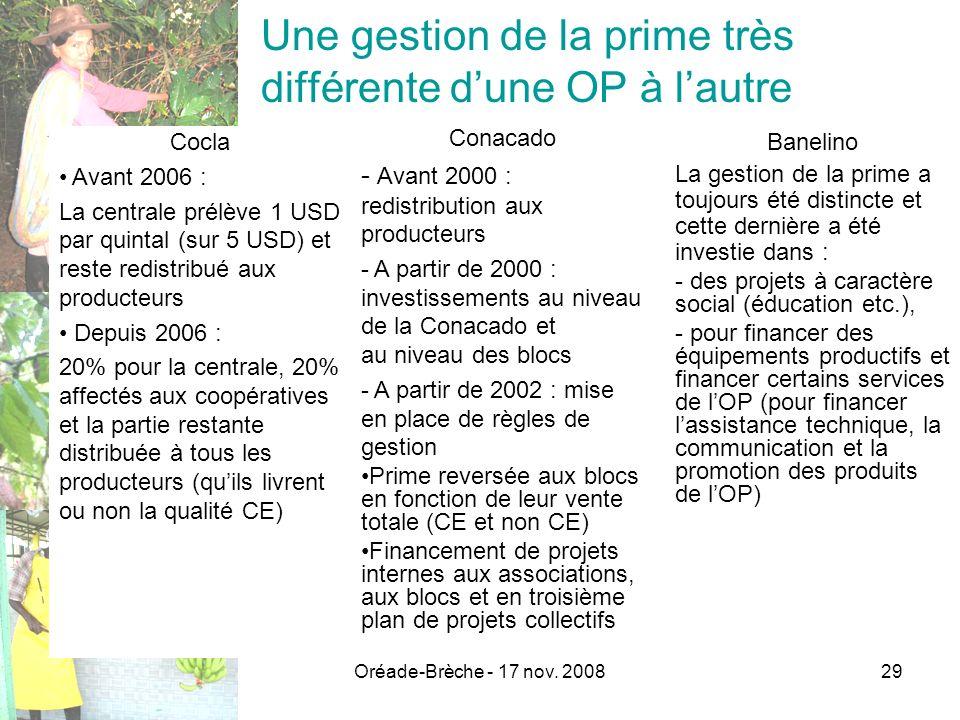 Oréade-Brèche - 17 nov. 200829 Une gestion de la prime très différente dune OP à lautre Cocla Avant 2006 : La centrale prélève 1 USD par quintal (sur