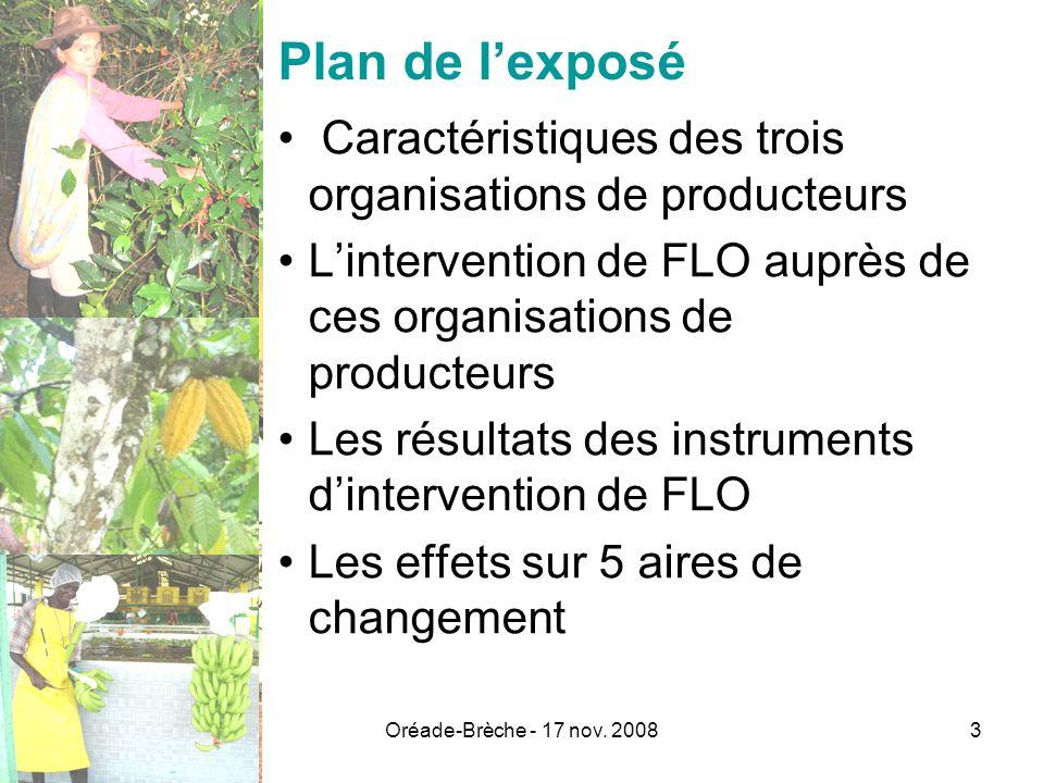 Oréade-Brèche - 17 nov. 20083 Plan de lexposé Caractéristiques des trois organisations de producteurs Lintervention de FLO auprès de ces organisations