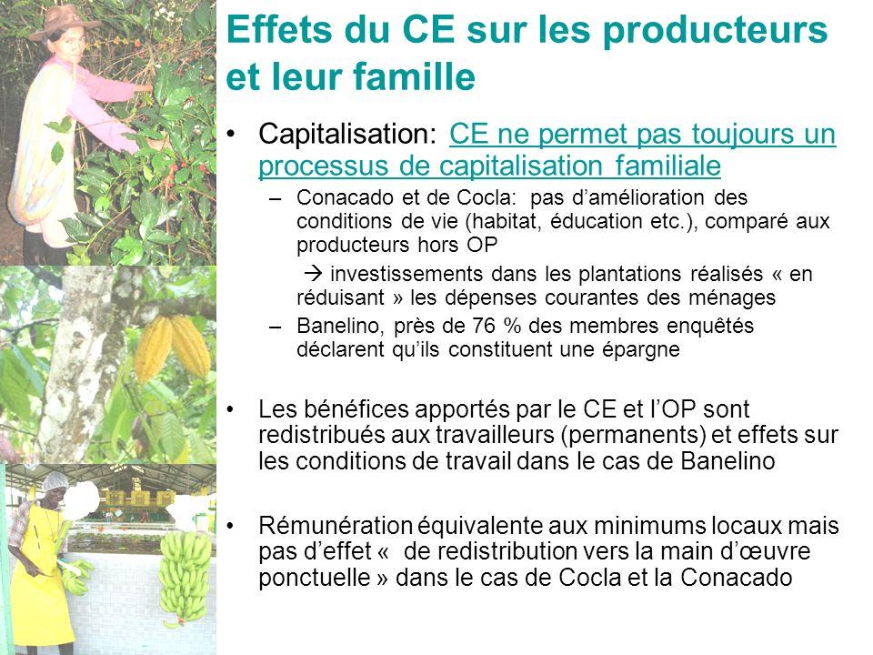 Oréade-Brèche - 17 nov. 200832 Effets du CE sur les producteurs et leur famille Capitalisation: CE ne permet pas toujours un processus de capitalisati