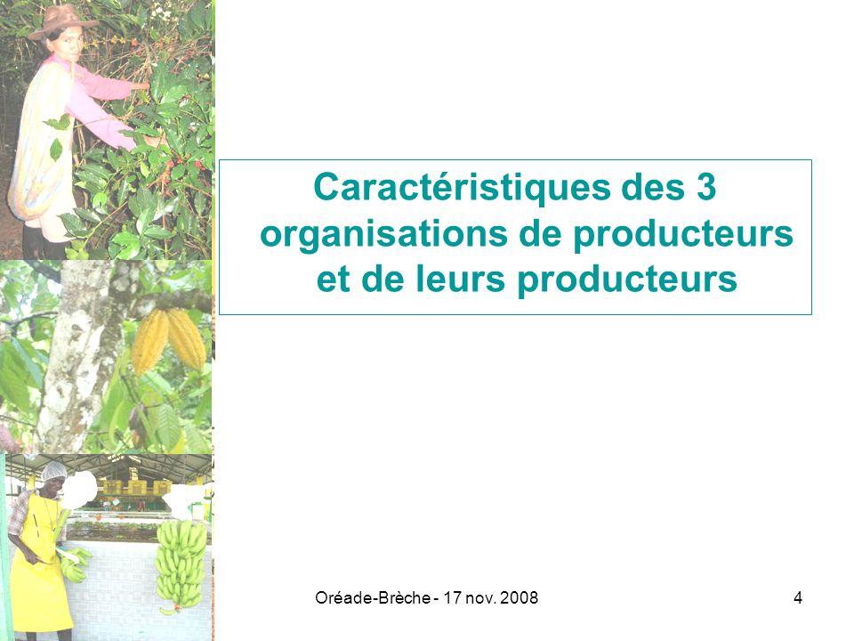 Oréade-Brèche - 17 nov. 20084 Caractéristiques des 3 organisations de producteurs et de leurs producteurs