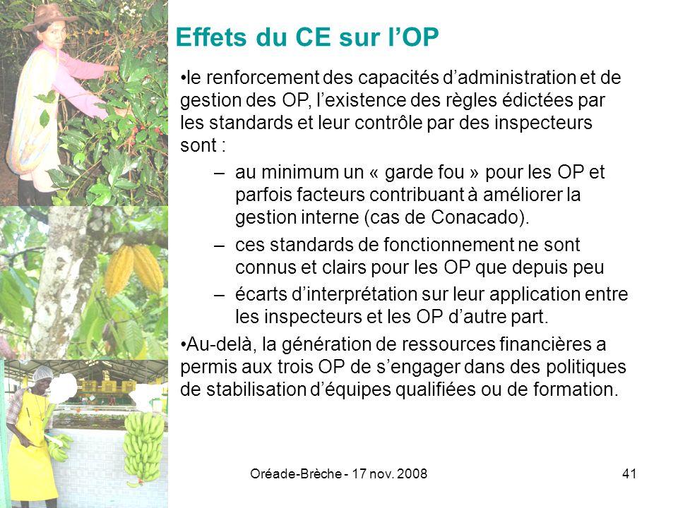 Oréade-Brèche - 17 nov. 200841 Effets du CE sur lOP le renforcement des capacités dadministration et de gestion des OP, lexistence des règles édictées
