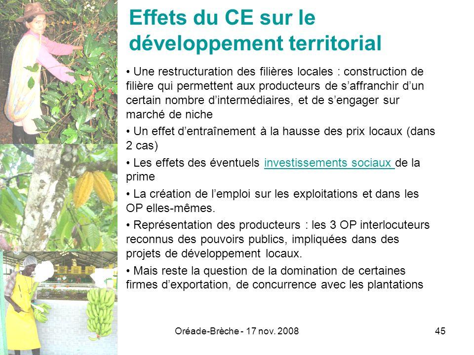 Oréade-Brèche - 17 nov. 200845 Effets du CE sur le développement territorial Une restructuration des filières locales : construction de filière qui pe