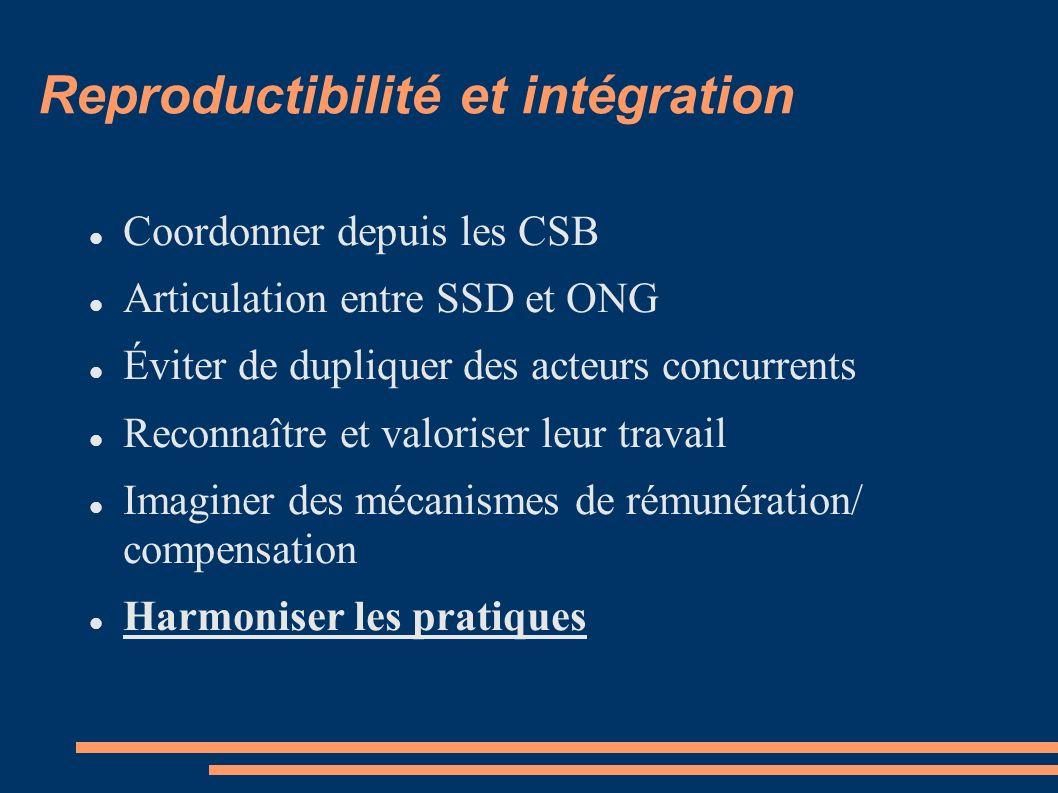 Reproductibilité et intégration Coordonner depuis les CSB Articulation entre SSD et ONG Éviter de dupliquer des acteurs concurrents Reconnaître et valoriser leur travail Imaginer des mécanismes de rémunération/ compensation Harmoniser les pratiques