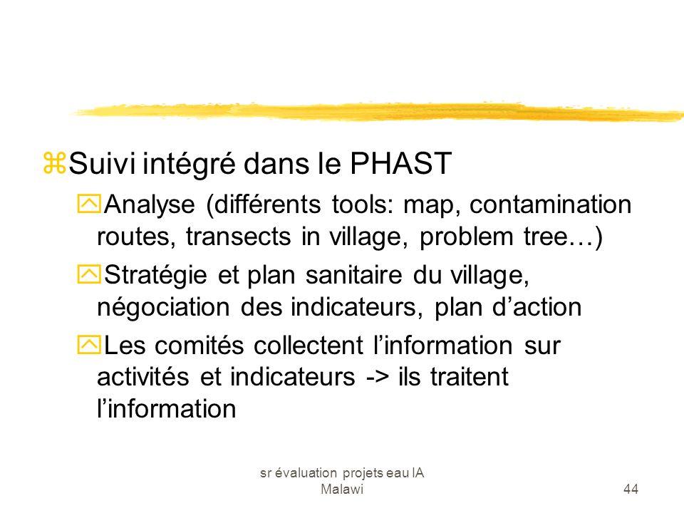 sr évaluation projets eau IA Malawi44 zSuivi intégré dans le PHAST yAnalyse (différents tools: map, contamination routes, transects in village, proble
