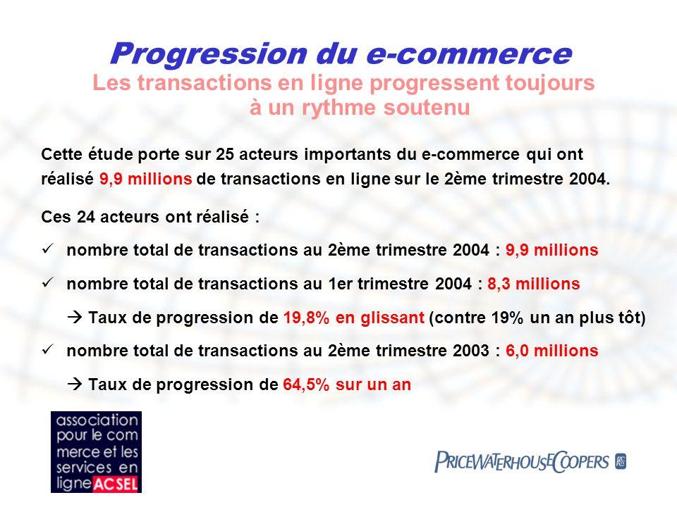 Progression du e-commerce Une progression du chiffre daffaires en ligne avec lévolution des transactions Pour les 24 acteurs comparables, le chiffre d affaires sétablit à plus de 665 millions d euros sur le 2ème trimestre 2004.