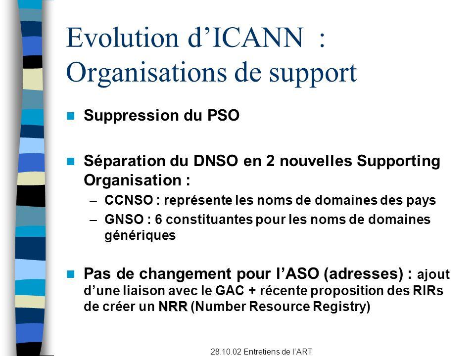 28.10.02 Entretiens de lART Suppression du PSO Séparation du DNSO en 2 nouvelles Supporting Organisation : –CCNSO : représente les noms de domaines des pays –GNSO : 6 constituantes pour les noms de domaines génériques NRR Pas de changement pour lASO (adresses) : ajout dune liaison avec le GAC + récente proposition des RIRs de créer un NRR (Number Resource Registry) Evolution dICANN : Organisations de support