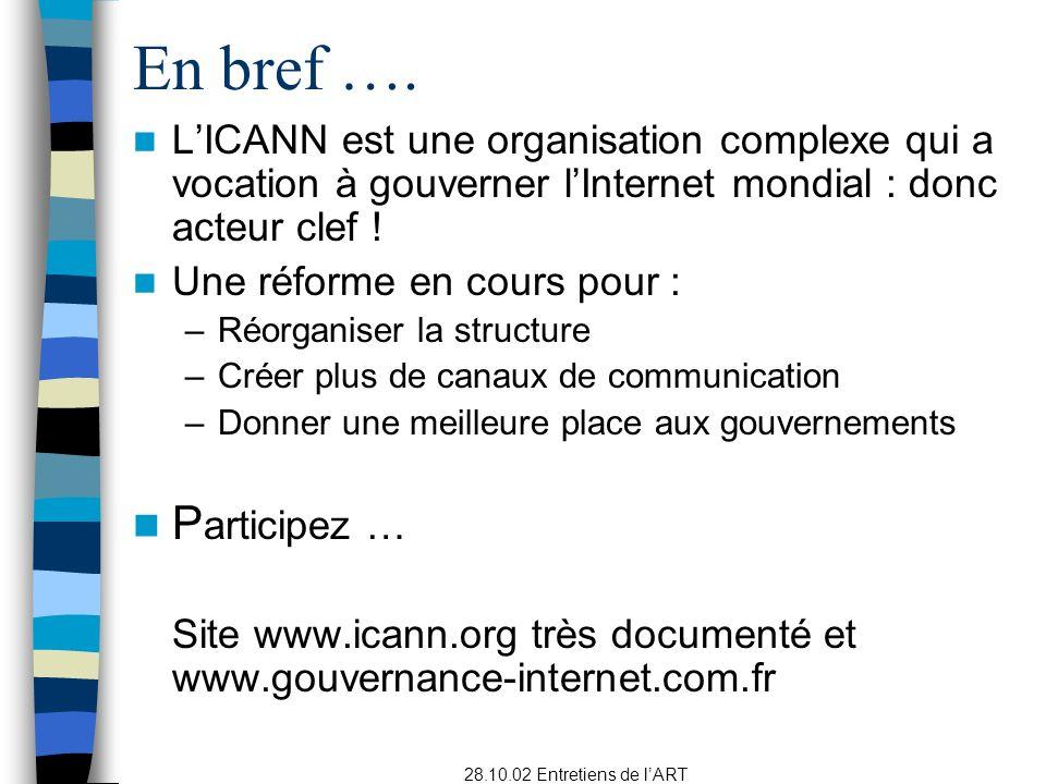 28.10.02 Entretiens de lART LICANN est une organisation complexe qui a vocation à gouverner lInternet mondial : donc acteur clef .