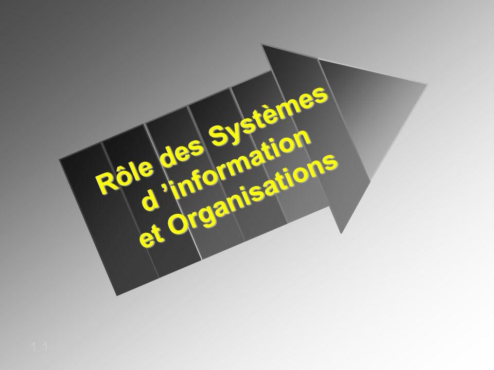 Rôle des Systèmes d information et Organisations 1.1