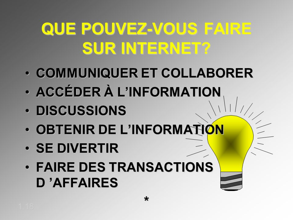 QUE POUVEZ-VOUS FAIRE SUR INTERNET? 1.18 COMMUNIQUER ET COLLABORERCOMMUNIQUER ET COLLABORER ACCÉDER À LINFORMATIONACCÉDER À LINFORMATION DISCUSSIONSDI