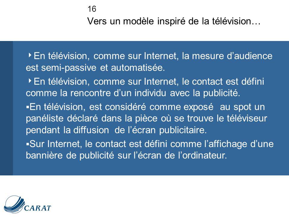 16 Vers un modèle inspiré de la télévision… En télévision, comme sur Internet, la mesure daudience est semi-passive et automatisée.