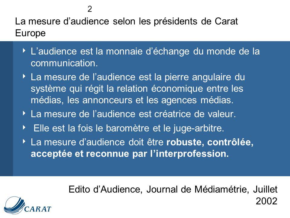2 La mesure daudience selon les présidents de Carat Europe Laudience est la monnaie déchange du monde de la communication.