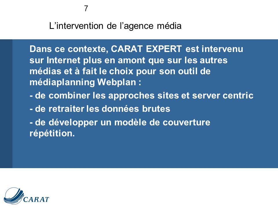 7 Dans ce contexte, CARAT EXPERT est intervenu sur Internet plus en amont que sur les autres médias et à fait le choix pour son outil de médiaplanning Webplan : - de combiner les approches sites et server centric - de retraiter les données brutes - de développer un modèle de couverture répétition.