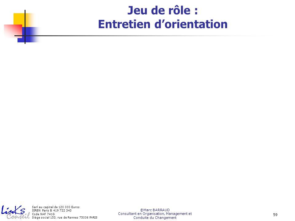 Sarl au capital de 120 000 Euros SIREN Paris B 419 722 343 Code NAF 741G Siège social 153, rue de Rennes 75006 PARIS ©Marc BARRAUD Consultant en Organisation, Management et Conduite du Changement 59 Jeu de rôle : Entretien dorientation
