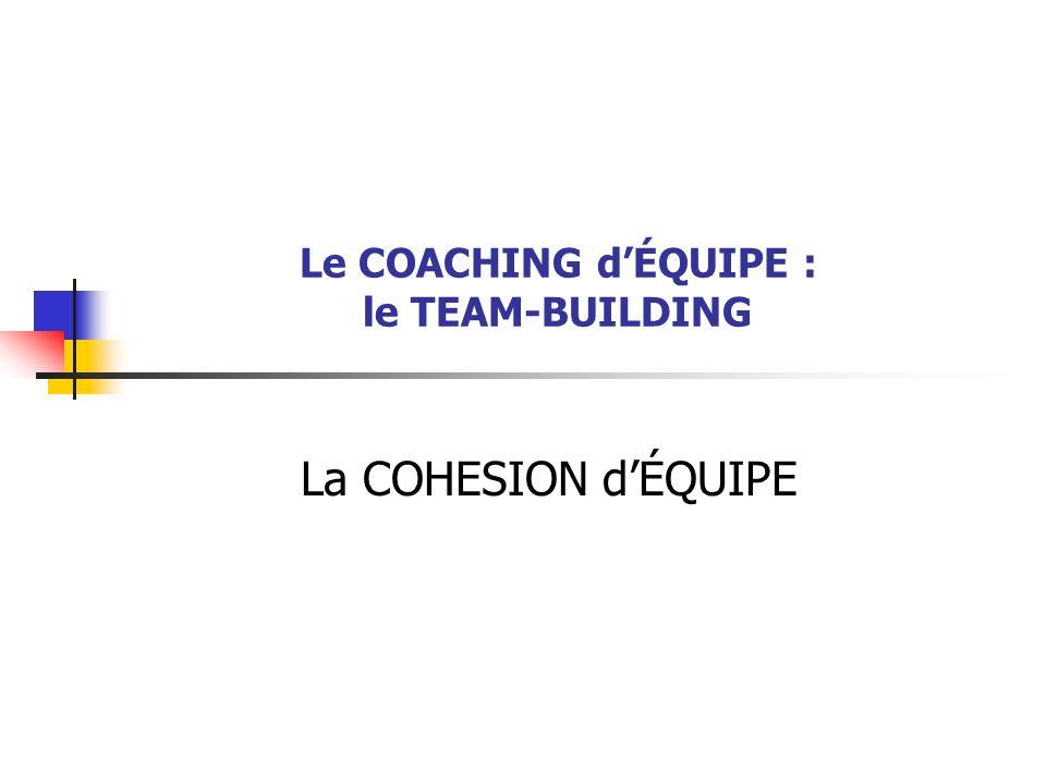 Le COACHING dÉQUIPE : le TEAM-BUILDING La COHESION dÉQUIPE