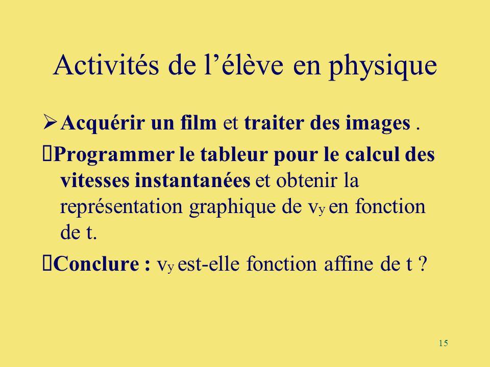 15 Activités de lélève en physique Acquérir un film et traiter des images. Programmer le tableur pour le calcul des vitesses instantanées et obtenir l