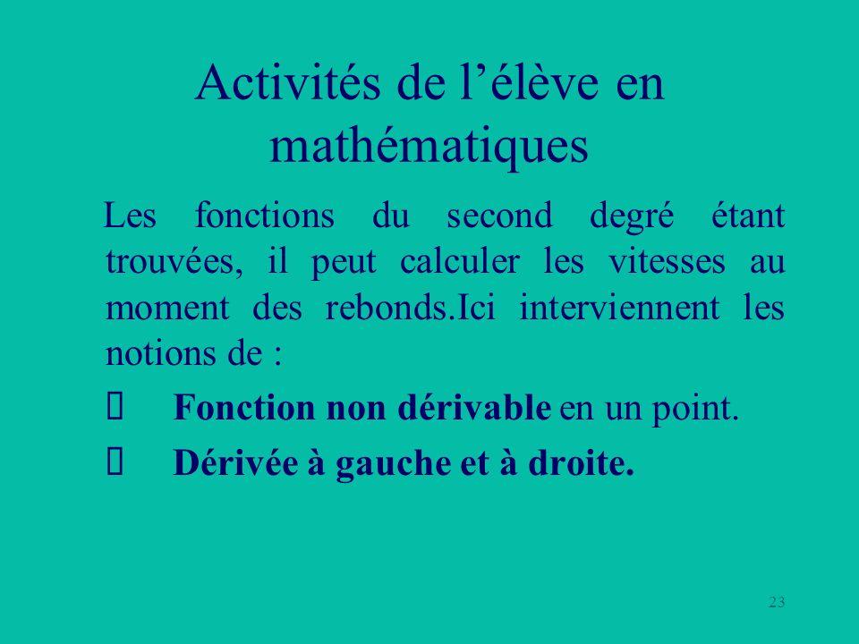 23 Activités de lélève en mathématiques Les fonctions du second degré étant trouvées, il peut calculer les vitesses au moment des rebonds.Ici intervie