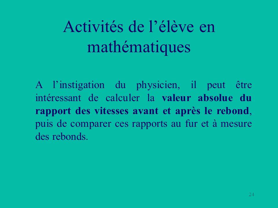 24 Activités de lélève en mathématiques A linstigation du physicien, il peut être intéressant de calculer la valeur absolue du rapport des vitesses av
