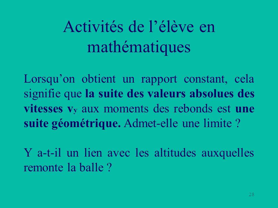 28 Activités de lélève en mathématiques Lorsquon obtient un rapport constant, cela signifie que la suite des valeurs absolues des vitesses v y aux mom
