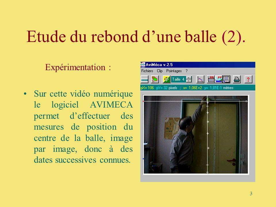 3 Etude du rebond dune balle (2). Expérimentation : Sur cette vidéo numérique le logiciel AVIMECA permet deffectuer des mesures de position du centre