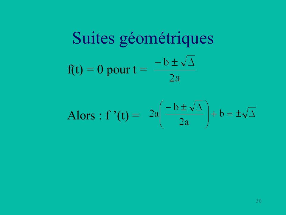 30 Suites géométriques f(t) = 0 pour t = Alors : f (t) =