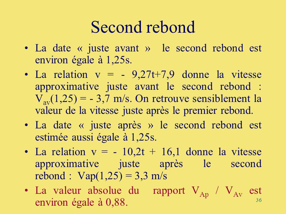 36 Second rebond La date « juste avant » le second rebond est environ égale à 1,25s. La relation v = - 9,27t+7,9 donne la vitesse approximative juste