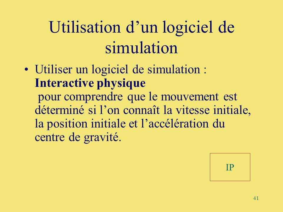 41 Utilisation dun logiciel de simulation Utiliser un logiciel de simulation : Interactive physique pour comprendre que le mouvement est déterminé si