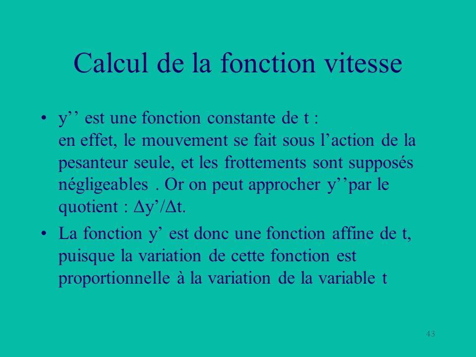 43 Calcul de la fonction vitesse y est une fonction constante de t : en effet, le mouvement se fait sous laction de la pesanteur seule, et les frottem