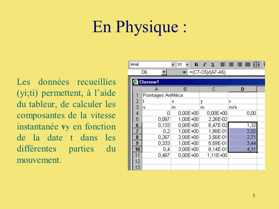 8 En Physique : Les données recueillies (yi;ti) permettent, à laide du tableur, de calculer les composantes de la vitesse instantanée v y en fonction
