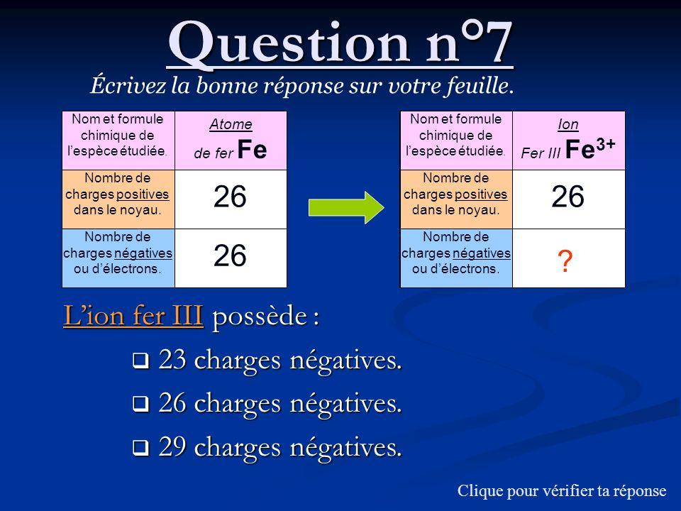 Question n°7 Écrivez la bonne réponse sur votre feuille. Lion fer III possède : 23 charges négatives. 23 charges négatives. 26 charges négatives. 26 c