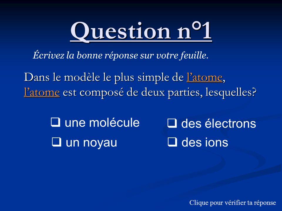 Question n°1 Dans le modèle le plus simple de latome, latome est composé de deux parties, lesquelles? Écrivez la bonne réponse sur votre feuille. Cliq