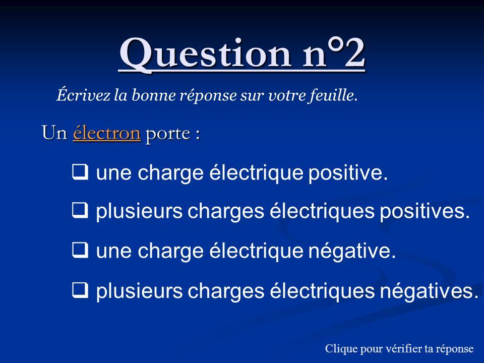 Question n°2 Un électron porte : Écrivez la bonne réponse sur votre feuille. Clique pour vérifier ta réponse une charge électrique positive. plusieurs