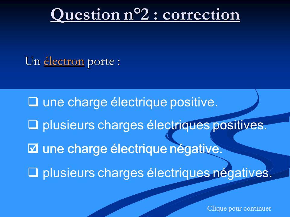 Question n°2 : correction Clique pour continuer Un électron porte : une charge électrique positive. plusieurs charges électriques positives. une charg