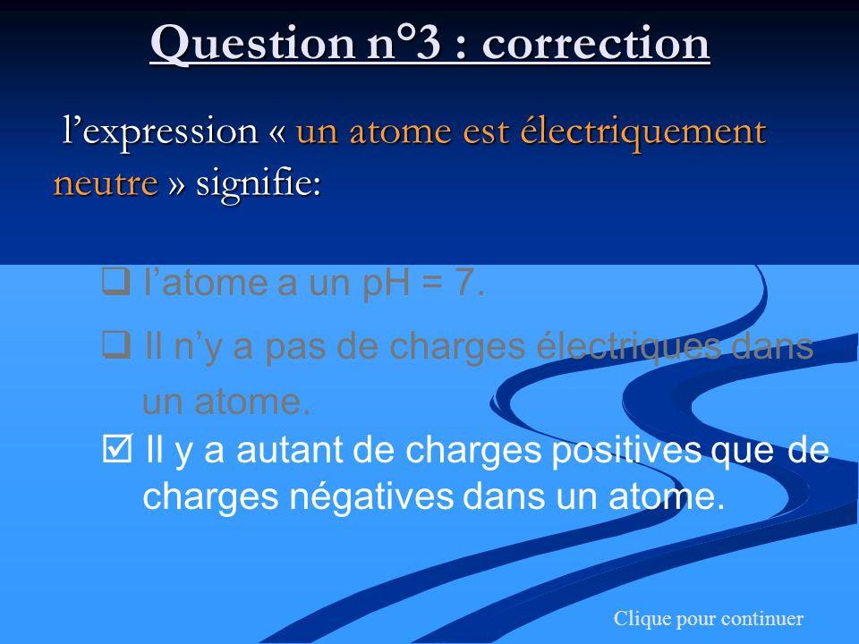 Question n°3 : correction lexpression « un atome est électriquement neutre » signifie: lexpression « un atome est électriquement neutre » signifie: la