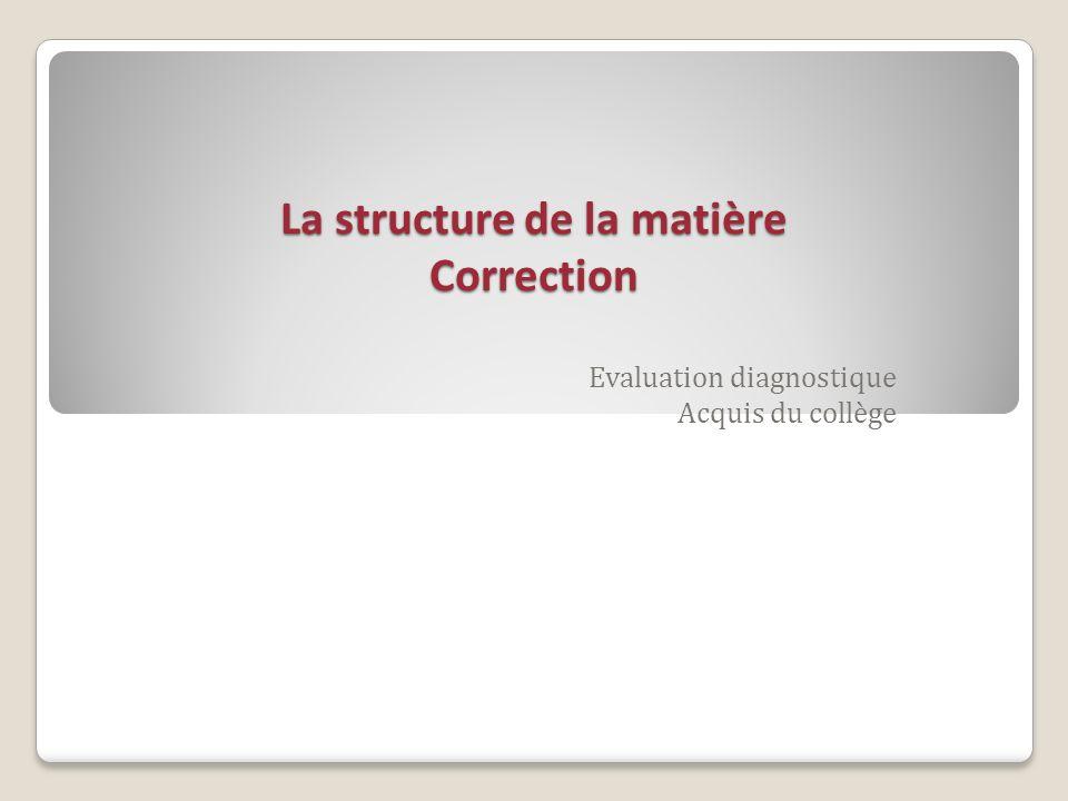 La structure de la matière Correction Evaluation diagnostique Acquis du collège