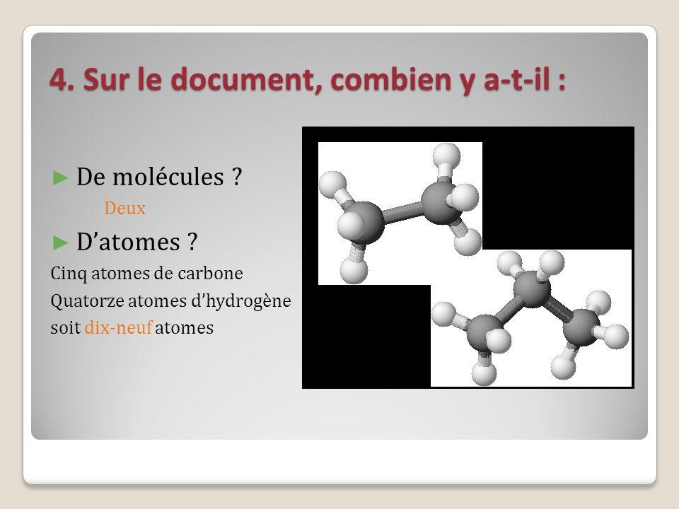 4. Sur le document, combien y a-t-il : De molécules ? Deux Datomes ? Cinq atomes de carbone Quatorze atomes dhydrogène soit dix-neuf atomes