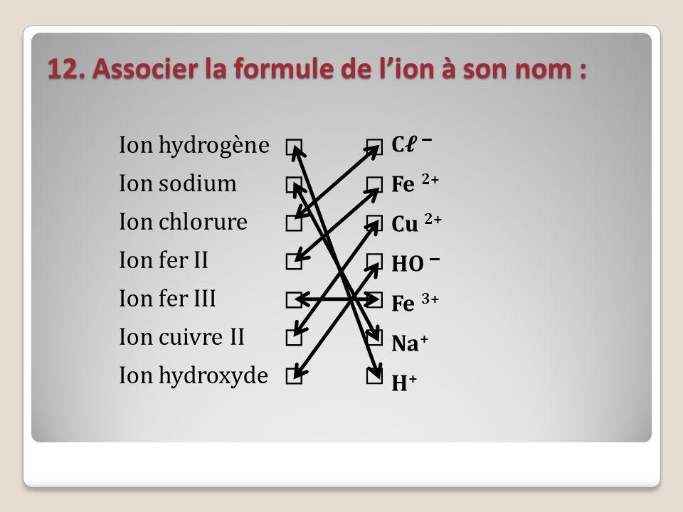 12. Associer la formule de lion à son nom : Ion hydrogène Ion sodium Ion chlorure Ion fer II Ion fer III Ion cuivre II Ion hydroxyde C – Fe 2+ Cu 2+ H