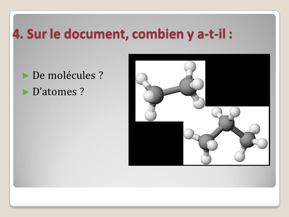 4. Sur le document, combien y a-t-il : De molécules ? Datomes ?