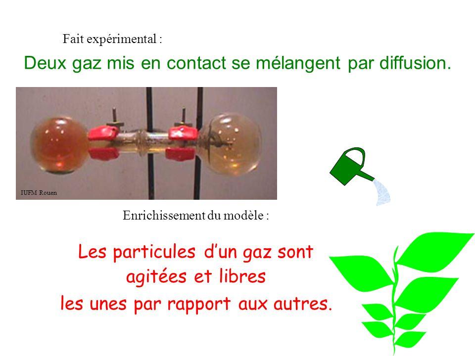 Deux gaz mis en contact se mélangent par diffusion. Enrichissement du modèle : Les particules dun gaz sont agitées et libres les unes par rapport aux