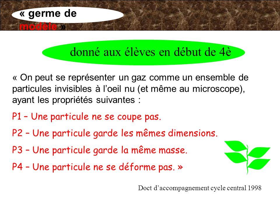 « On peut se représenter un gaz comme un ensemble de particules invisibles à loeil nu (et même au microscope), ayant les propriétés suivantes : P1 – U