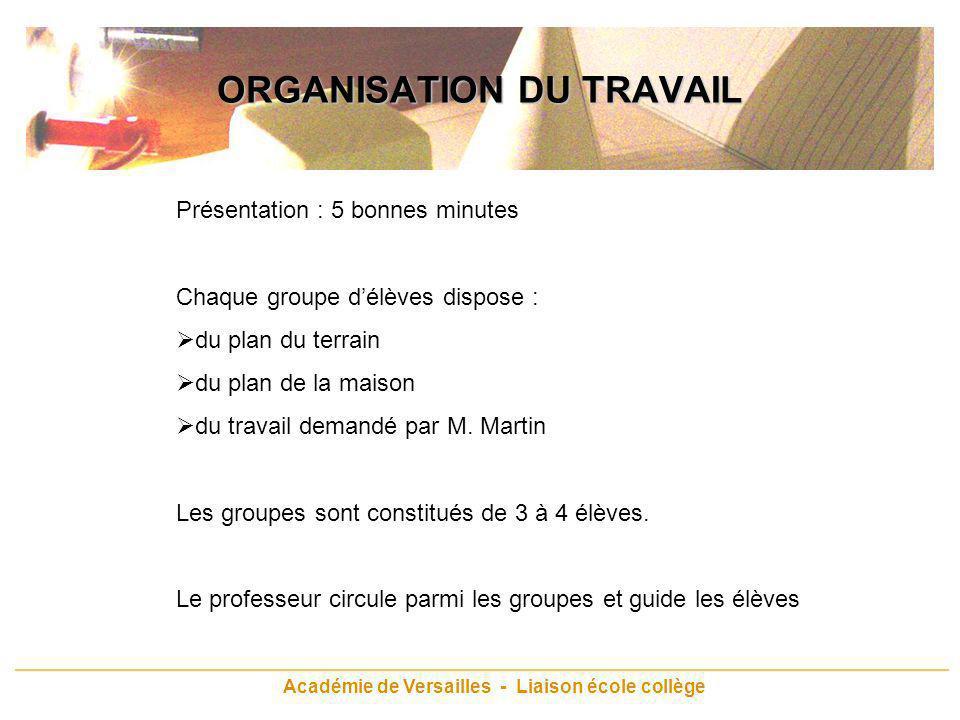 Académie de Versailles - Liaison école collège ORGANISATION DU TRAVAIL Présentation : 5 bonnes minutes Chaque groupe délèves dispose : du plan du terr