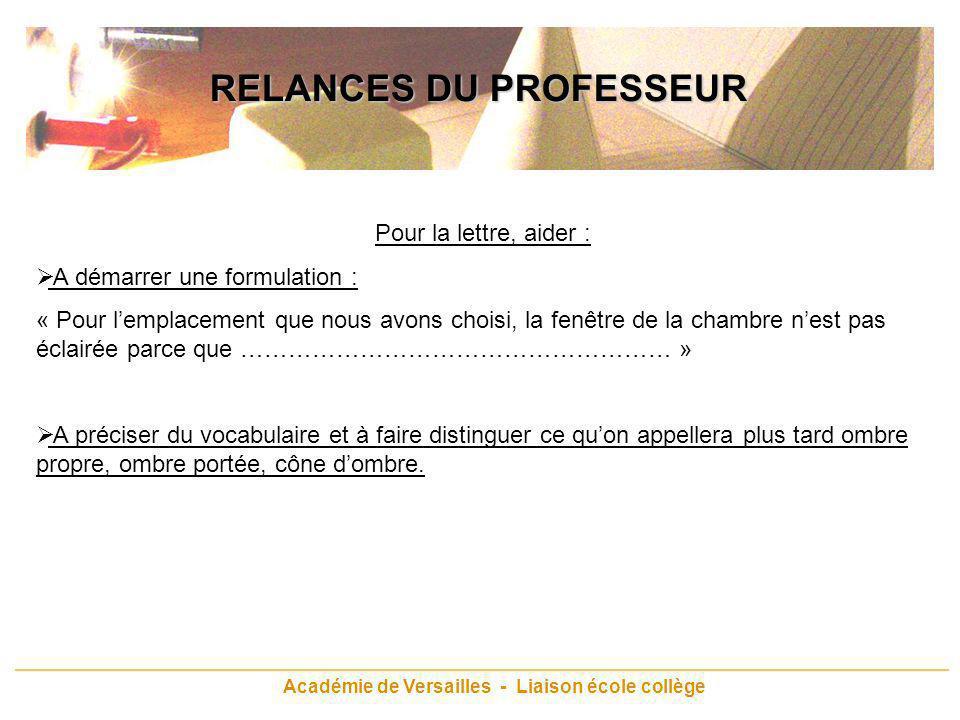 Académie de Versailles - Liaison école collège RELANCES DU PROFESSEUR Pour la lettre, aider : A démarrer une formulation : « Pour lemplacement que nou