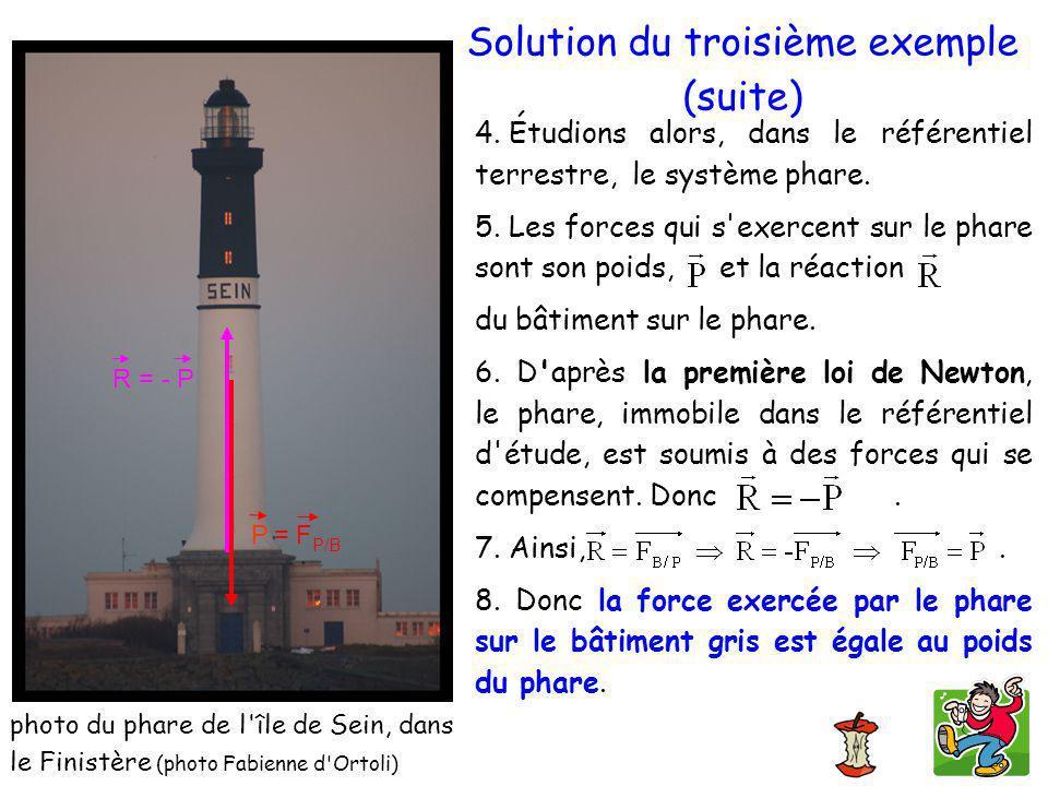 4. Étudions alors, dans le référentiel terrestre, le système phare. 5. Les forces qui s'exercent sur le phare sont son poids, et la réaction du bâtime