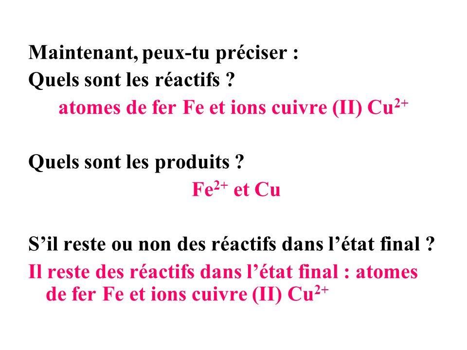Maintenant, peux-tu préciser : Quels sont les réactifs ? atomes de fer Fe et ions cuivre (II) Cu 2+ Quels sont les produits ? Fe 2+ et Cu Sil reste ou