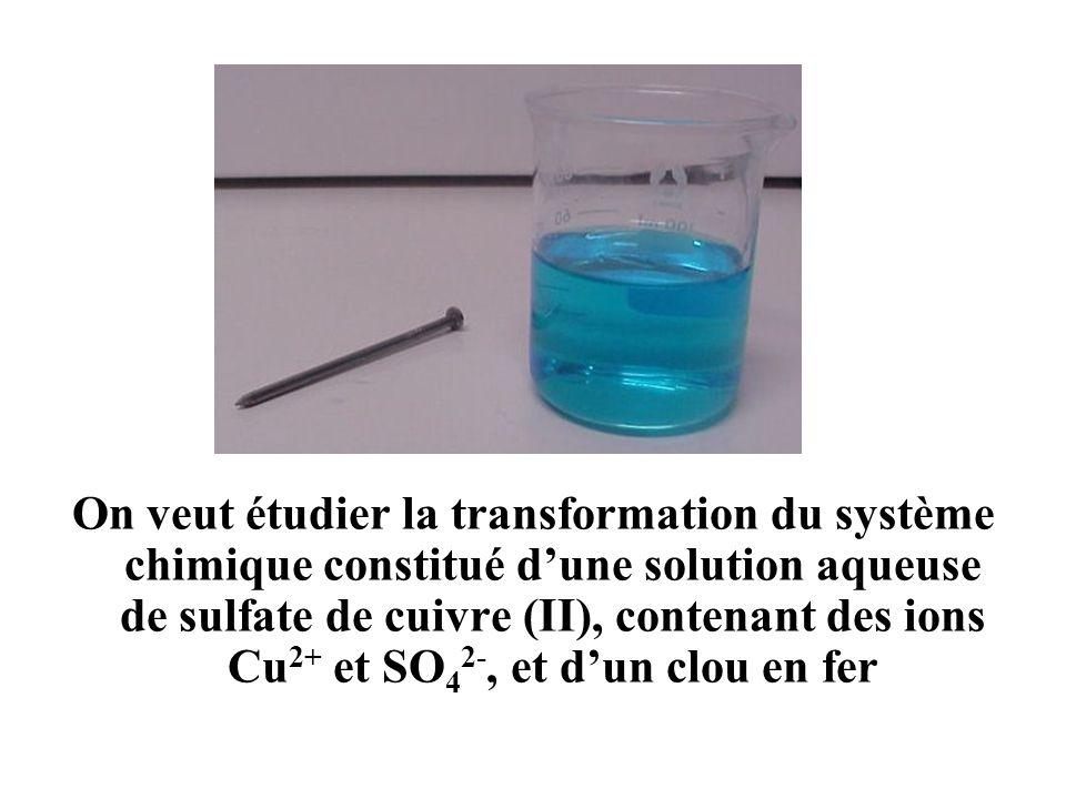 On veut étudier la transformation du système chimique constitué dune solution aqueuse de sulfate de cuivre (II), contenant des ions Cu 2+ et SO 4 2-,
