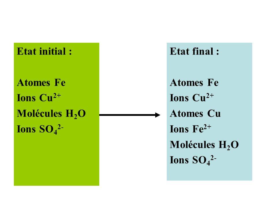 Etat initial : Atomes Fe Ions Cu 2+ Molécules H 2 O Ions SO 4 2- Etat final : Atomes Fe Ions Cu 2+ Atomes Cu Ions Fe 2+ Molécules H 2 O Ions SO 4 2-