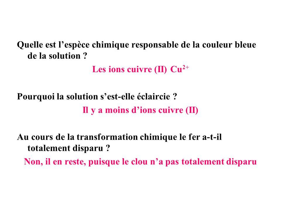 Quelle est lespèce chimique responsable de la couleur bleue de la solution ? Les ions cuivre (II) Cu 2+ Pourquoi la solution sest-elle éclaircie ? Il