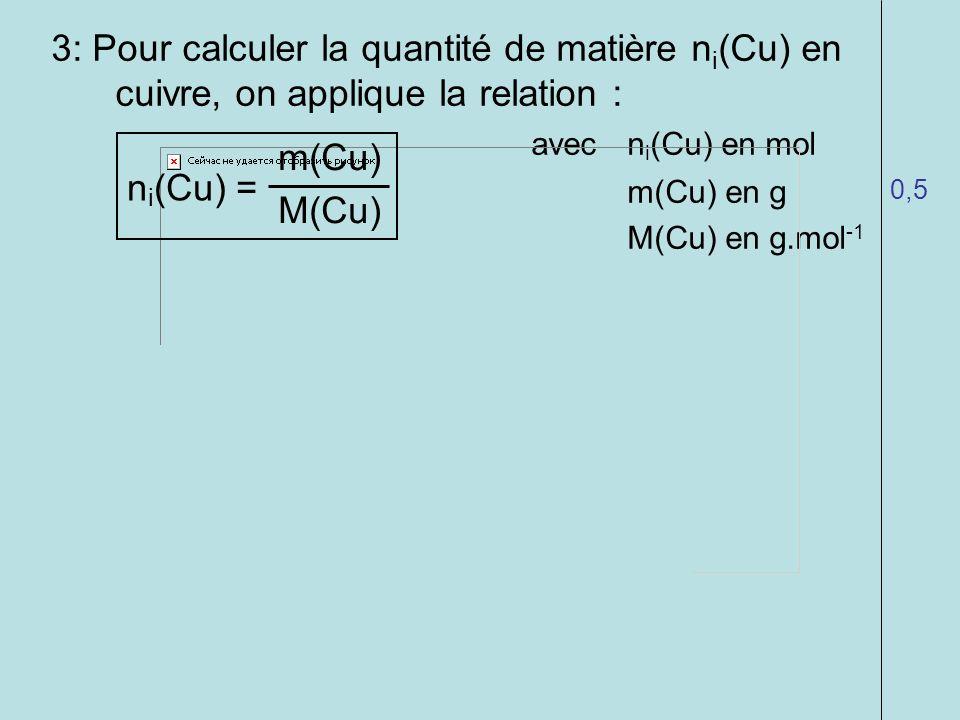 3: Pour calculer la quantité de matière n i (Cu) en cuivre, on applique la relation : avecn i (Cu) en mol m(Cu) en g M(Cu) en g.mol -1 4: On fait lapp