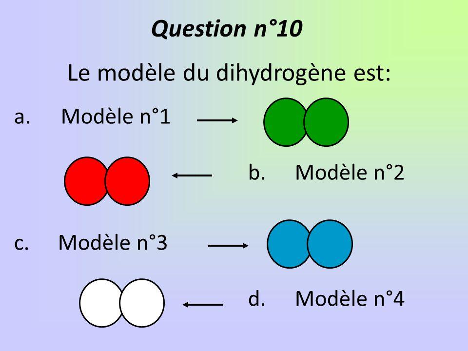 Le modèle du dihydrogène est: a.Modèle n°1 b.Modèle n°2 c. Modèle n°3 d.Modèle n°4 Question n°10