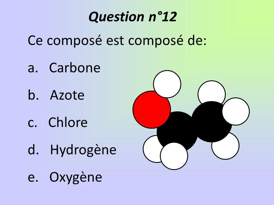 Ce composé est composé de: a. Carbone b. Azote c. Chlore d. Hydrogène e. Oxygène Question n°12