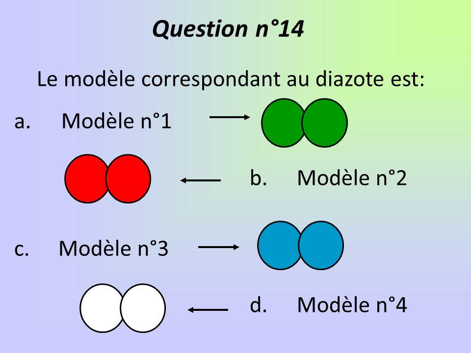 Le modèle correspondant au diazote est: a.Modèle n°1 b.Modèle n°2 c.
